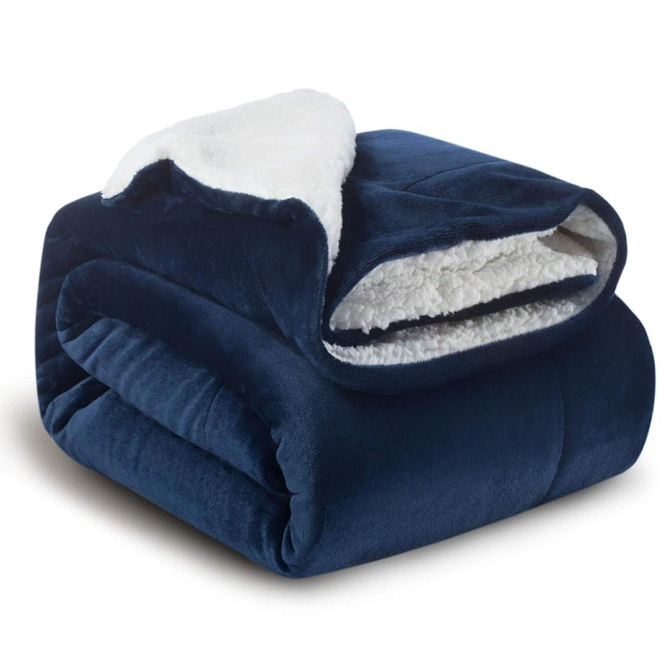 """<h2>Bedsure Sherpa Fleece Blanket Throw</h2><br><br><strong>Bedsure</strong> Bedsure Sherpa Fleece Blanket Throw, $, available at <a href=""""https://amzn.to/2GTwYSb"""" rel=""""nofollow noopener"""" target=""""_blank"""" data-ylk=""""slk:Amazon"""" class=""""link rapid-noclick-resp"""">Amazon</a>"""