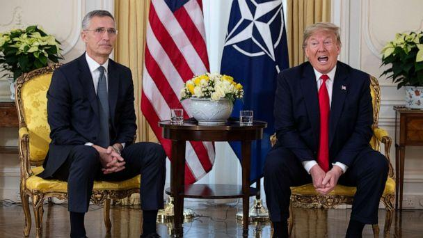 PHOTO: U.S. President Donald Trump speaks during a meeting with NATO Secretary General, Jens Stoltenberg at Winfield House in London, Tuesday, Dec. 3, 2019. (AP Photo/Evan Vucci) (Evan Vucci/AP)