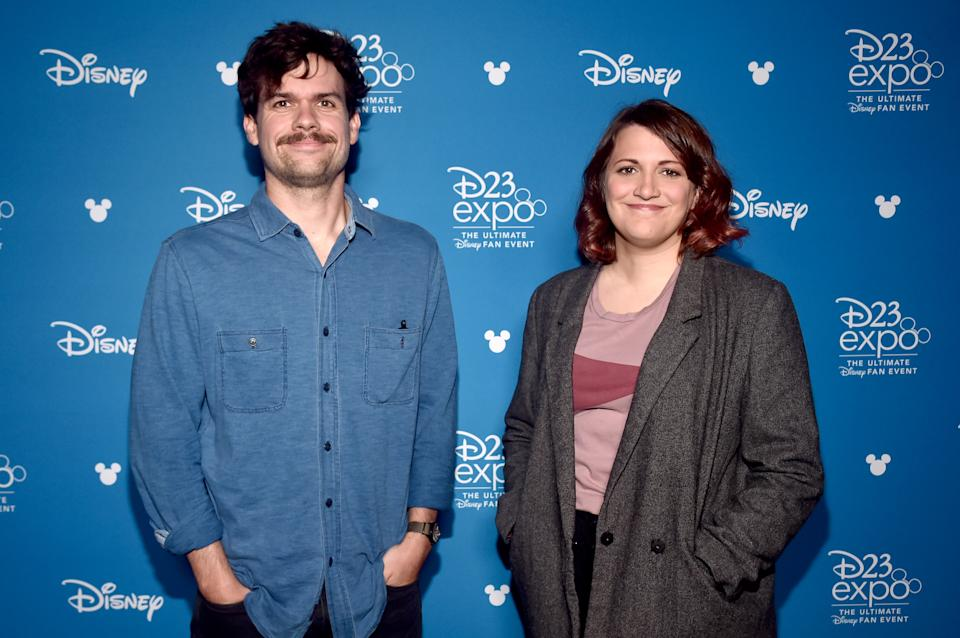 ANAHEIM, CALIFORNIA - AUGUST 23: (L-R) Writer Michael Waldron and director Kate Herron of 'Loki' took part today in the Disney+ Showcase at Disney's D23 EXPO 2019 in Anaheim, Calif.  'Loki' will stream exclusively on Disney+, which launches November 12. (Photo by Alberto E. Rodriguez/Getty Images for Disney)