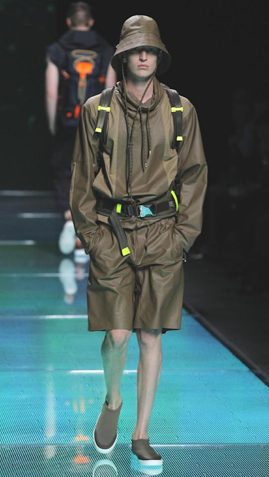 A model wears a creation by Marc Jacobs for Louis Vuitton fashion house's Men's Spring-Summer 2013 collection, during Paris Fashion Week, in Paris, France, Thursday, June 28, 2012. (AP Photo/Jacques Brinon)