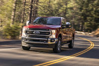 This undated photo provided by Ford shows the 2020 Ford F-250 Super Duty. The Super Duty trucks offer both gasoline and diesel V8 engines, and not surprisingly the diesel packs the most punch. (Ford Motor Co. via AP)