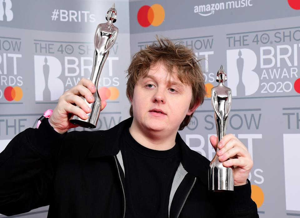 Lewis Capaldi with the Brit Award for British Album of the Year and the Brit Award for Best New Artist in the press room at the Brit Awards 2020 held at the O2 Arena, London. PA Photo. (Photo by Ian West/PA Images via Getty Images)