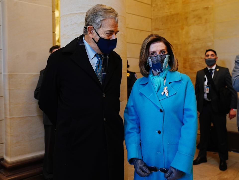 Speaker of the House Nancy Pelosi and her husband ahead of Joe Biden's arrival at the Capitol for the inauguration ceremonyEPA