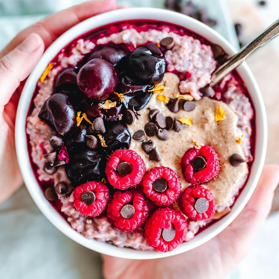 <p>All berries are nutritious, but <strong>raspberries have higher fiber counts than any of its berry counterparts. </strong>Portion out a tablespoon of mini dark chocolate chips and fill each raspberry with a piece for a tasty treat.</p>