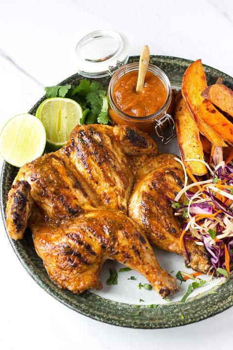 Crispy, spicy and juicy, you'll be tearing at this Thai piri-piri chicken with your hands.