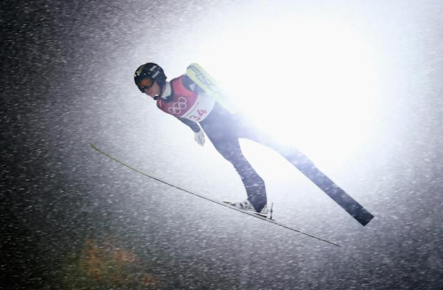<p>Katharina Althaus of Germany makes a jump during the Ladies' Normal Hill Individual Ski Jumping Final on day three of the PyeongChang 2018 Winter Olympic Games at Alpensia Ski Jumping Centre on February 12, 2018 in Pyeongchang-gun, South Korea. (Photo by Lars Baron/Getty Images) </p>