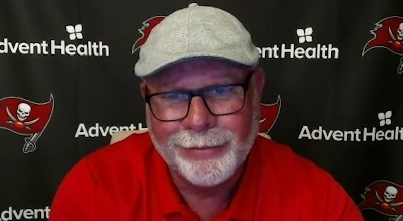 Tampa Bay Buccaneers head coach Bruce Arians is at high risk for COVID-19 because of his age and health history, but he says he has a plan to stay healthy. (Photo by Getty Images/Getty Images)