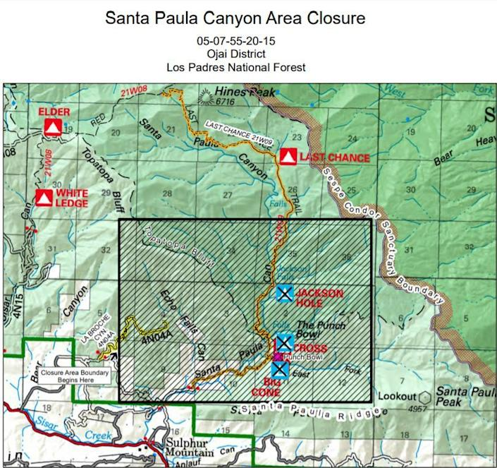 This map shows the closure area covered by the Los Padres National Forest's recent closure order in Ventura County.