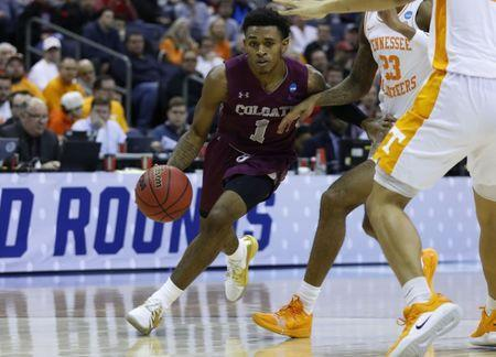 Mar 22, 2019; Columbus, OH, USA; Colgate Raiders guard Jordan Burns (1) drives to the basket in the second half against the Tennessee Volunteers in the first round of the 2019 NCAA Tournament at Nationwide Arena. Mandatory Credit: Rick Osentoski-USA TODAY Sports