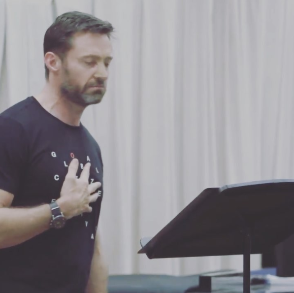 Hugh Jackman has shared a video of him singing for The Greatest Showman, but it ended in disaster when his stitches burst. Source: Instagram/HughJackman