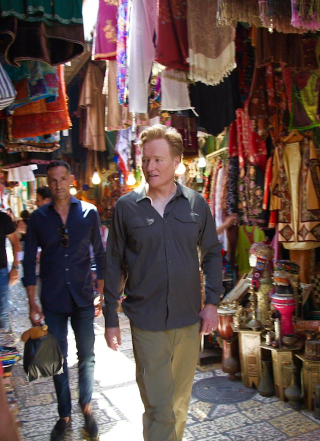 """<p>Visited an Arab Market and became an expert at haggling. If """"haggling"""" means """"paying full retail and then crying."""" #ConanIsrael #Jerusalem (Photo: Conan O'Brien via Twitter) </p>"""