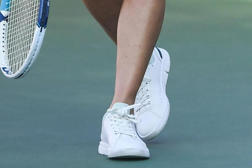 A closer view of Kate Middleton's sneakers. - Credit: Jeremy Selwyn/Splash News