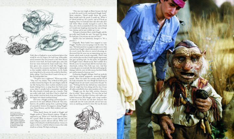 This spread reveals early sketches for the character of Hoggle, left, and the finished character with puppeteer Brian Henson, right. Hoggle's appearance changed dramatically during the film's development to accommodate advanced electronics. (Photo provided by Insight Editions from <em>Labyrinth: The Ultimate Visual History.</em> ©2016 The Jim Henson Co. All rights reserved.)
