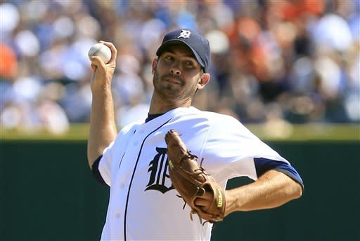 Detroit Tigers starting pitcher Rick Porcello throws during the first inning of a baseball game against the Chicago White Sox in Detroit, Saturday, July 21, 2012. (AP Photo/Carlos Osorio)