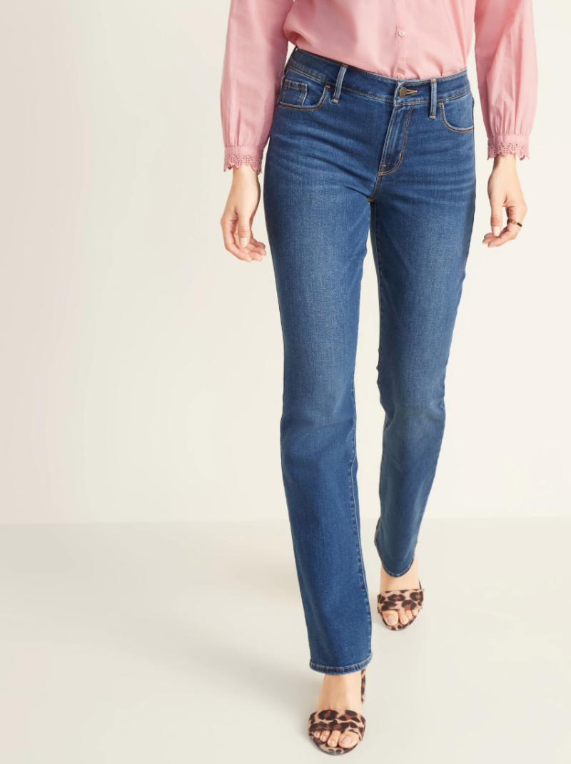 Old Navy Mid-rise Dark-wash Kicker Boot-cut jeans. (Photo: Old Navy)