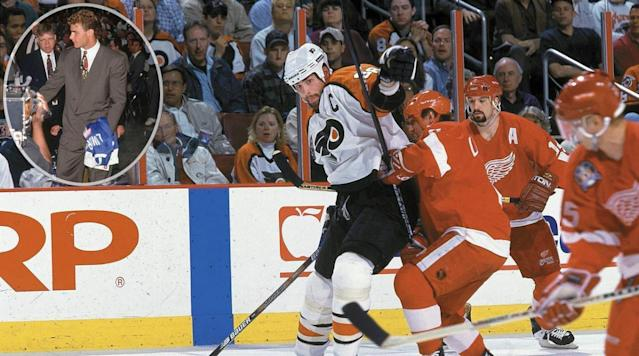 <p>Dubbed The Next One, Lindros famously forced a trade to Philadelphia where he became captain, the pivot on the legendary Legion of Doom line, and the 1994-95 Hart Trophy-winner. His 13-season career was diminished and ultimately ended by a series of concussions. — Notable picks: No. 2: Pat Falloon, RW, San Jose Sharks | No. 3: Scott Niedermayer, D, New Jersey Devils | No. 6: Peter Forsberg, C, Philadelphia Flyers | No. 15: Alexei Kovalev, RW, New York Rangers | No. 16: Markus Naslund, LW, Pittsburgh Penguins | No. 23: Ray Whitney, LW, San Jose Sharks | No. 26: Ziggy Palffy, RW, New York Islanders | No. 30: Sandis Ozolinsh, D, San Jose Sharks | No. 54: Chris Osgood, G, Detroit Red Wings</p>