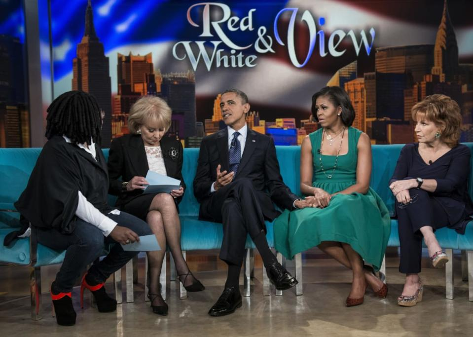 "<div class=""inline-image__caption""><p>Whoopi Goldberg, Barbara Walters President Barack Obama, first lady Michelle Obama, and Joy Behar talk during a break in a taping of <em>The View</em> at ABC Studios September 24, 2012, in New York City. </p></div> <div class=""inline-image__credit"">Brendan Smialowski/AFP/Getty</div>"