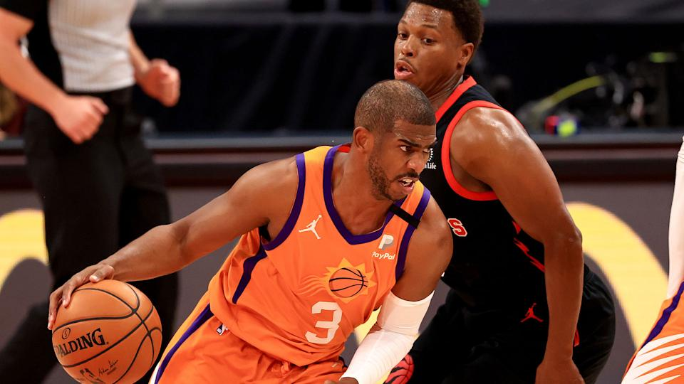 The similarities between Chris Paul (#3) and Kyle Lowry are striking. (Photo by Mike Ehrmann/Getty Images)