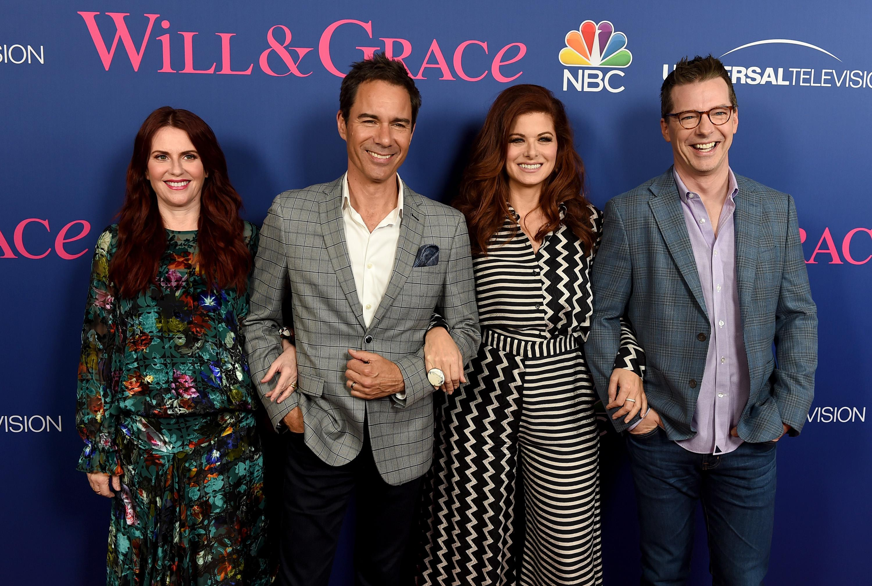"""LOS ANGELES, CA - JUNE 09: (L-R) Actors Megan Mullally, Eric McCormack, Debra Messing and Sean Hayes arrive at NBC's """"Will & Grace"""" FYC Event at the Harmony Gold Theatre on June 9, 2018 in Los Angeles, California. (Photo by Kevin Winter/Getty Images)"""