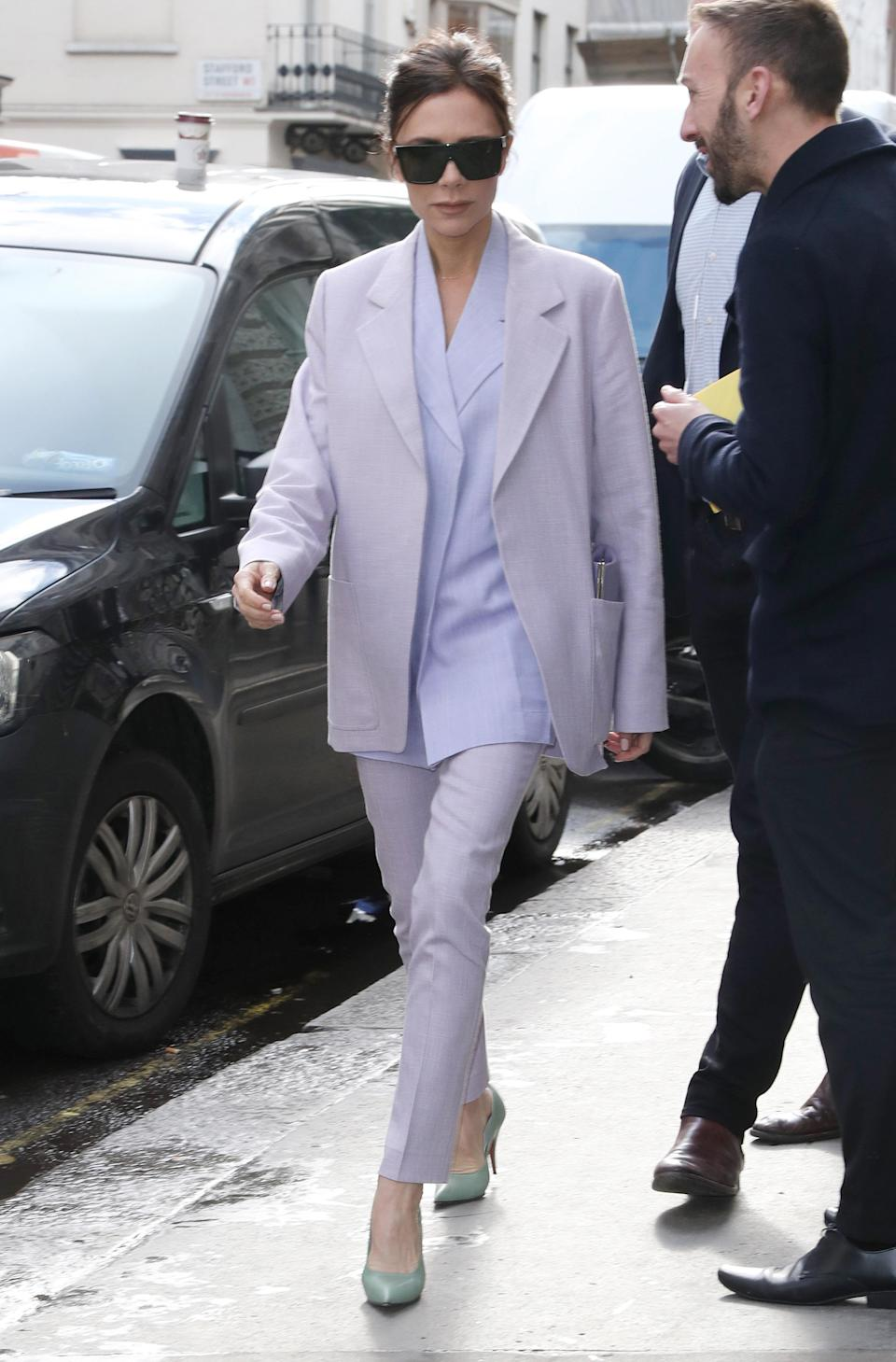 <p>Victoria Beckham was a pastel dream in this suit from her own collection (Rex features) </p>