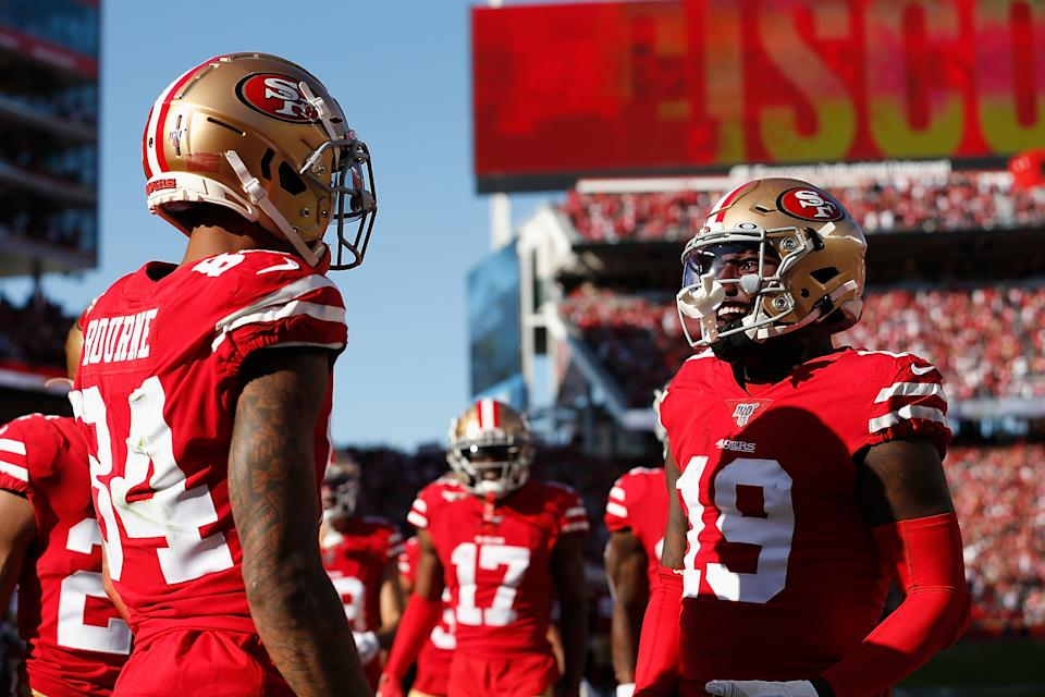 SANTA CLARA, CALIFORNIA - JANUARY 11: Kendrick Bourne #84 of the San Francisco 49ers celebrates with Deebo Samuel #19 after scoring a touchdown in the first quarter of the NFC Divisional Round Playoff game against the Minnesota Vikings at Levi's Stadium on January 11, 2020 in Santa Clara, California. (Photo by Lachlan Cunningham/Getty Images)