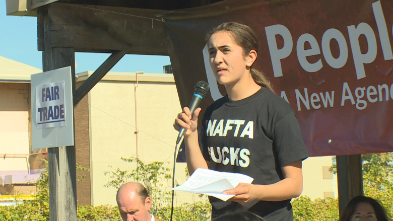 'NAFTA sucks:' 13-year-old leads Unifor rally in Windsor