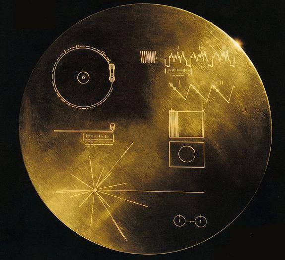 NASA's twin Voyager spacecraft launched in August and September 1977. Aboard each spacecraft is a golden record, a collection of sights, sounds and greetings from Earth. There are 117 images and greetings in 54 languages, with a variety of natu