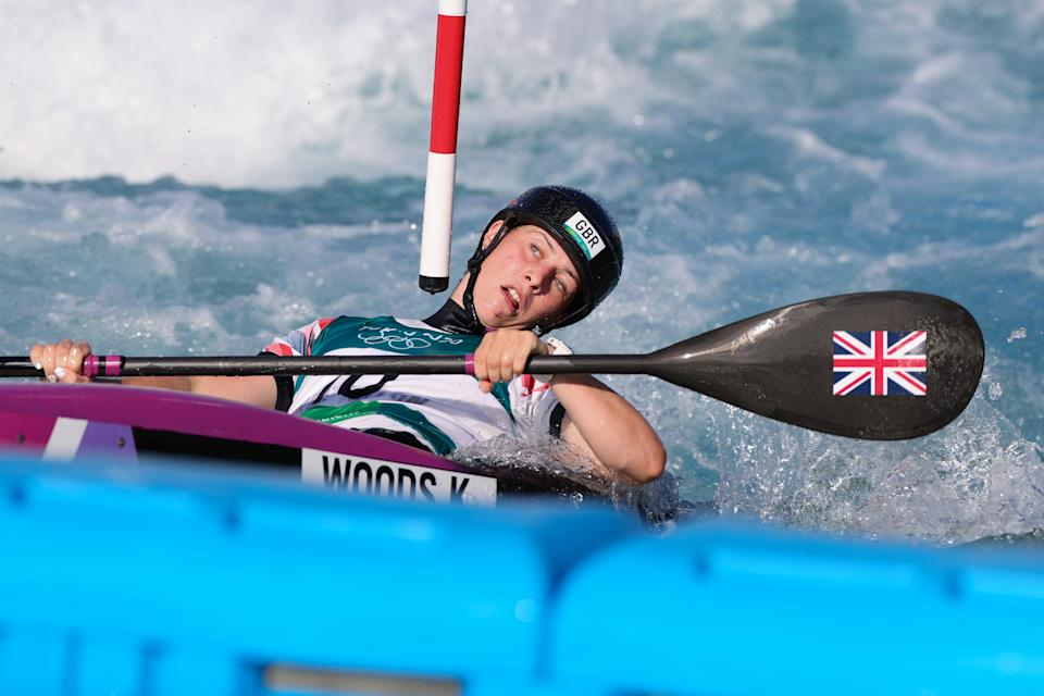 TOKYO, JAPAN - JULY 27: Kimberley Woods of Team Great Britain during the Women's Slalom Kayak K-1 Final on Day 4 of the Tokyo 2020 Olympic Games at Kasai Canoe Slalom Centre on July 27, 2021 in Tokyo, Japan. (Photo by Pete Dovgan/Speed Media/Icon Sportswire via Getty Images)