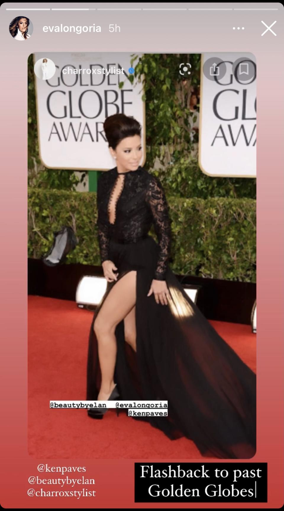<p>For her second fashion throwback, Longoria shared a photo of herself at the 2013 Golden Globes. For that year's red carpet, she opted for a sultry lace and chiffon Emilio Pucci gown that featured a sky-high slit. Image via Instagram/EvaLongoria.</p>