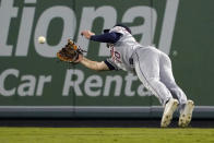 Houston Astros right fielder Chas McCormick makes a catch on a ball hit by Los Angeles Angels' Jack Mayfield during the third inning of a baseball game Wednesday, Sept. 22, 2021, in Anaheim, Calif. (AP Photo/Mark J. Terrill)