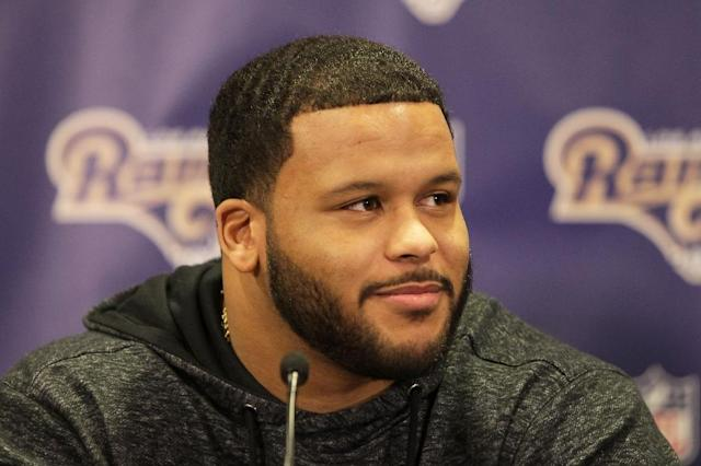 Defensive lineman Aaron Donald was the 13th player selected in the 2014 NFL Draft as well as the NFL's 2014 Defensive Rookie of the Year (AFP Photo/Leon Bennett)