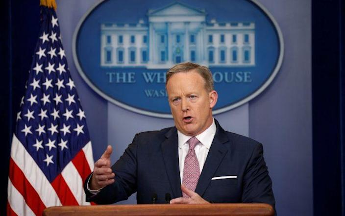 White House spokesman Sean Spicer during his press conference Monday. (Photo: Kevin Lamarque/Reuters)