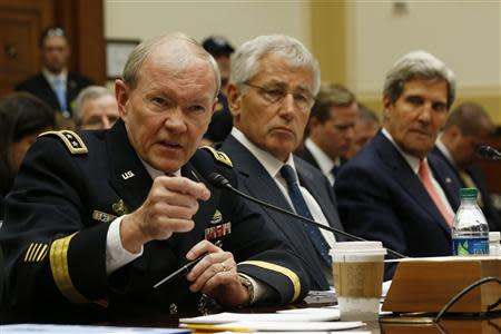 U.S. General Martin Dempsey, Chuck Hagel and John Kerry testify at a U.S. House Foreign Affairs Committee hearing on Syria on Capitol Hill in Washington