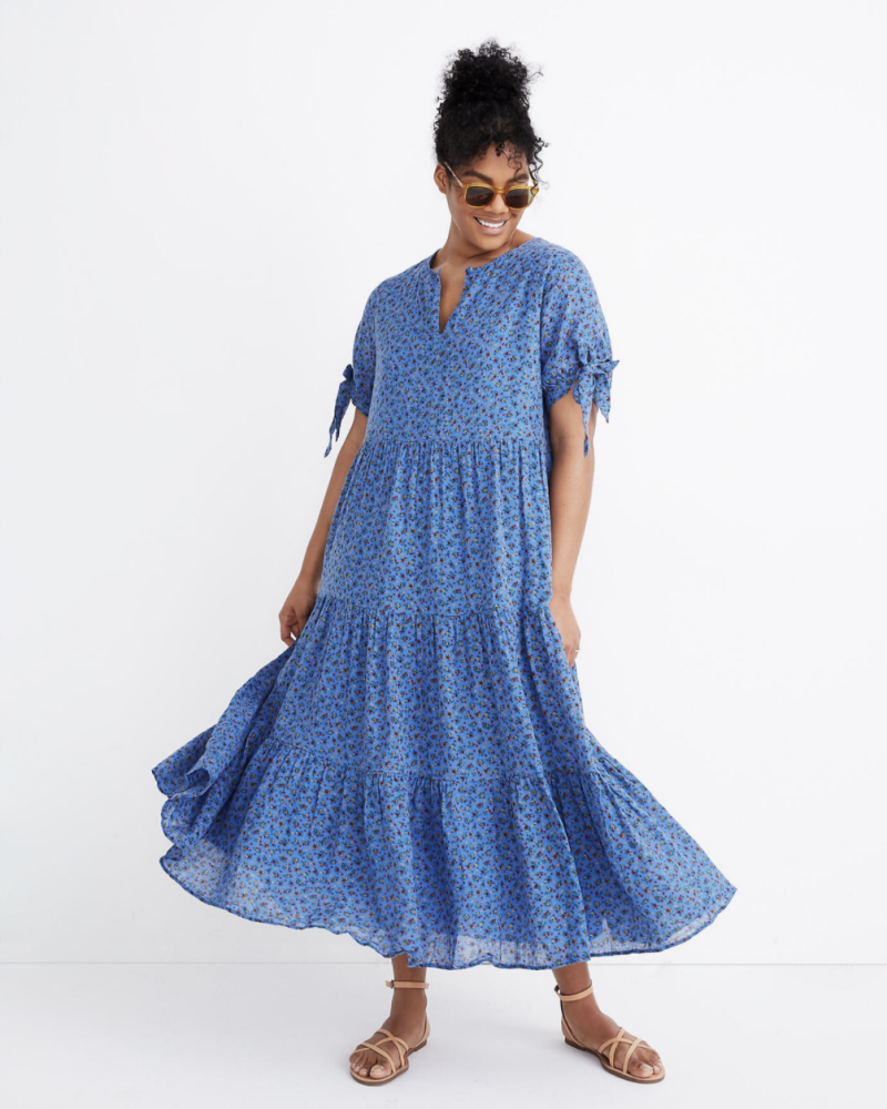 Tie-Sleeve Tiered Midi Dress in Calico Floral (Photo: Madewell)