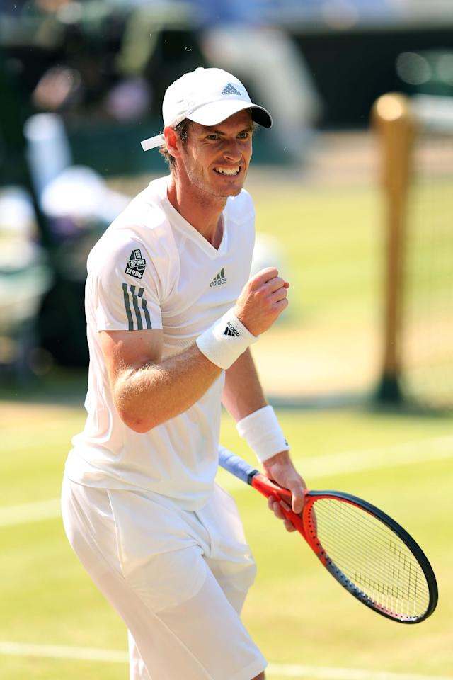 LONDON, ENGLAND - JULY 07: Andy Murray of Great Britain celebrates a point during the Gentlemen's Singles Final match against Novak Djokovic of Serbia on day thirteen of the Wimbledon Lawn Tennis Championships at the All England Lawn Tennis and Croquet Club on July 7, 2013 in London, England. (Photo by Julian Finney/Getty Images)