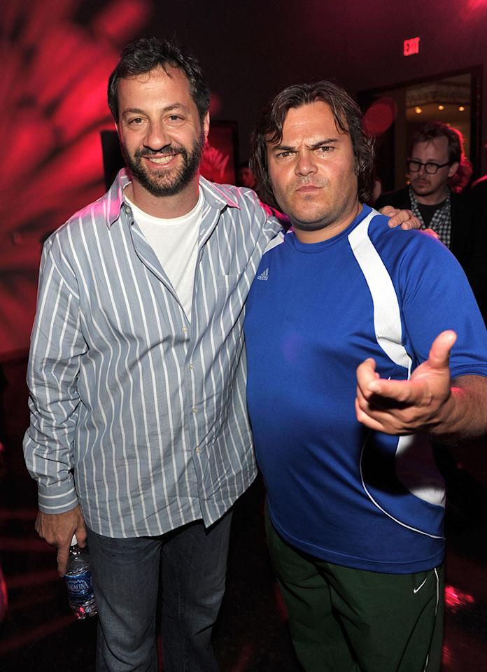 "<a href=""http://movies.yahoo.com/movie/contributor/1804503686"">Judd Apatow</a> and <a href=""http://movies.yahoo.com/movie/contributor/1800180457"">Jack Black</a> at the Los Angeles premiere of <a href=""http://movies.yahoo.com/movie/1810070753/info"">Scott Pilgrim vs. the World</a> - 07/27/2010"