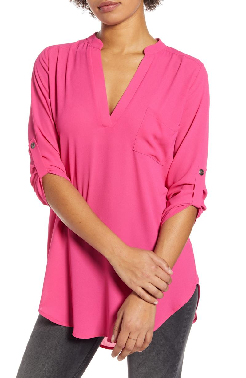 All In Favor Perfect Henley Tunic in pink yarrow