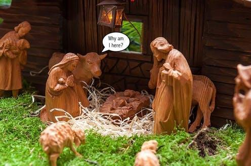 """<span class=""""caption"""">Animals are commonly found in creche sets, but surprisingly not in the Bible.</span> <span class=""""attribution""""><a class=""""link rapid-noclick-resp"""" href=""""https://commons.wikimedia.org/wiki/File:Weihnachtskrippe_(23851233332).jpg"""" rel=""""nofollow noopener"""" target=""""_blank"""" data-ylk=""""slk:Marco Verch"""">Marco Verch</a>, <a class=""""link rapid-noclick-resp"""" href=""""http://creativecommons.org/licenses/by-sa/4.0/"""" rel=""""nofollow noopener"""" target=""""_blank"""" data-ylk=""""slk:CC BY-SA"""">CC BY-SA</a></span>"""