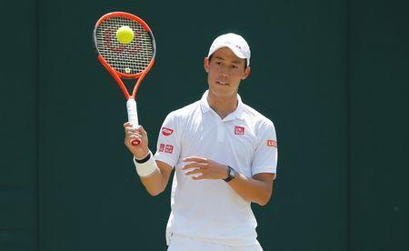 FILE PHOTO: Tennis - Wimbledon - London, Britain - July 7, 2017 Japan's Kei Nishikori reacts during his third round match against Spain's Roberto Bautista Agut REUTERS/Andrew Couldridge