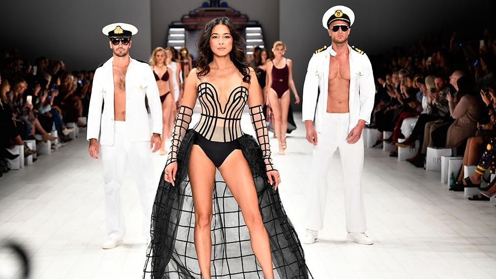 <p>Aussie beauty Jessica Gomes strutted her stuff on the catwalk for swimwear label 'Jets' for their Resort 19 Collection at Carriageworks on May 15, 2018, during Mercedes-Benz Fashion Week. Source: Getty </p>