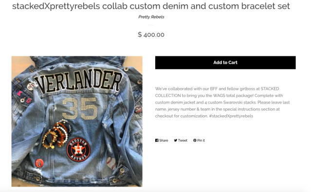 This Justin Verlander jean jacket retails for $400, bracelets included. (Photo: Pretty Rebels)