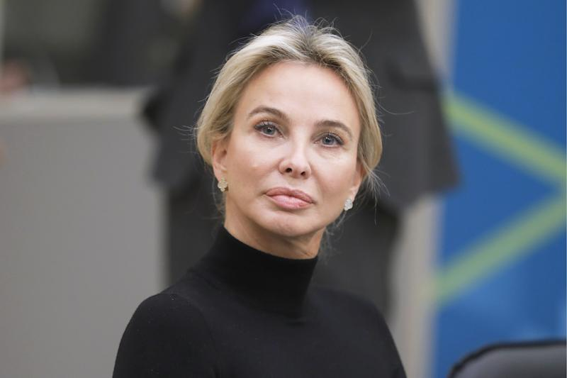 ST PETERSBURG, RUSSIA - NOVEMBER 17, 2017: German Princess, philanthropist Corinna zu Sayn-Wittgenstein at a meeting of the Mariinsky Theatre's Board of Trustees in the new stage building of the Mariinsky Theatre. Mikhail Metzel/TASS (Photo by Mikhail Metzel\TASS via Getty Images)