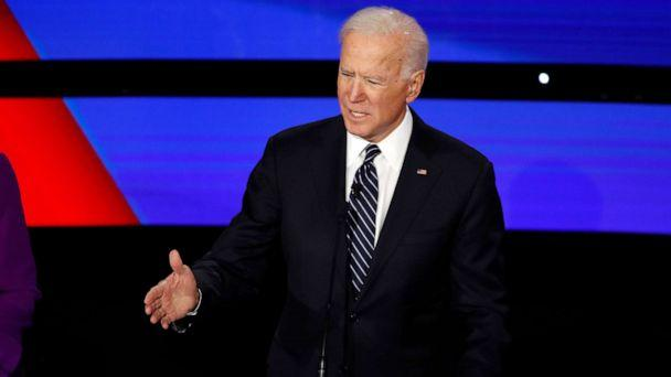 PHOTO: Former Vice President Joe Biden speaks during a Democratic presidential primary debate hosted by CNN and the Des Moines Register in Des Moines, Iowa, Jan. 14, 2020. (Patrick Semansky/AP)