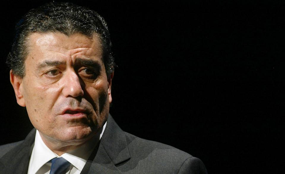 U.S. media billionaire Haim Saban addresses the audience of the Munich  Media Days in Munich October 22, 2003. Saban bought a controlling stake  in Germany's largest commercial broadcaster ProSiebenSat.1 Media in  August for 525 million euros. REUTERS/Alexandra Winkler REUTERS    AX/WR/aa