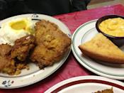 """<p><a href=""""https://www.tripadvisor.com/Restaurant_Review-g60885-d2216806-Reviews-Big_Mama_s_Kitchen_Catering-Omaha_Nebraska.html"""" rel=""""nofollow noopener"""" target=""""_blank"""" data-ylk=""""slk:Big Mama's Kitchen"""" class=""""link rapid-noclick-resp"""">Big Mama's Kitchen</a>, Omaha</p><p>It's Patricia """"Big Mama"""" Barron's chicken that keeps her customers coming back. Instead of using the typical deep-fry method, Patricia cooks her chicken in a convection oven in a pan of oil.<span class=""""redactor-invisible-space""""> - Foursquare user <a href=""""https://foursquare.com/foodnetwork"""" rel=""""nofollow noopener"""" target=""""_blank"""" data-ylk=""""slk:Food Network"""" class=""""link rapid-noclick-resp"""">Food Network</a></span><br></p>"""