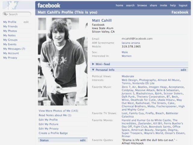 The Facebook profile with the columns to fill up personal information