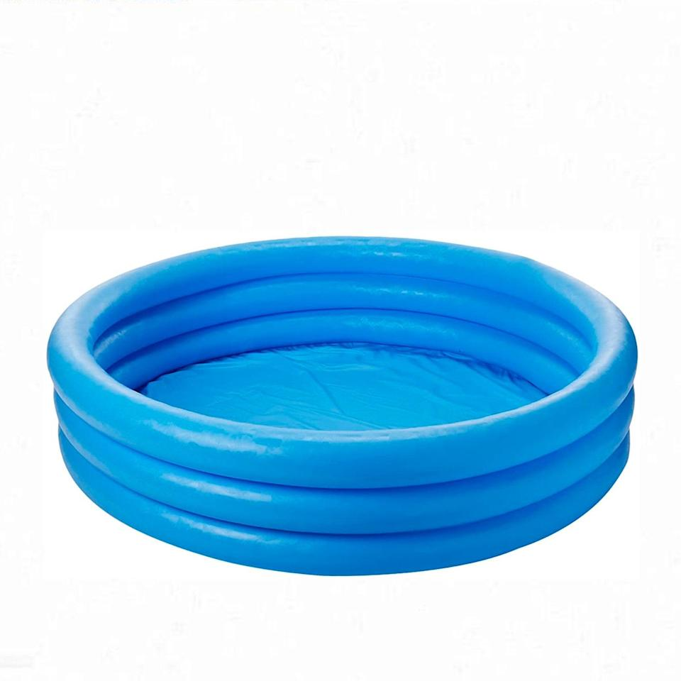 """Another top-rated pick, this pool resembles the crystal blue waters of Saint Tropez, but your pet can actually use it to cool off too—since it'll be in your backyard and all. $30, Amazon. <a href=""""https://www.amazon.com/Intex-Crystal-Blue-Inflatable-Pool/dp/B000SN61UC/ref=sr_1_4"""" rel=""""nofollow noopener"""" target=""""_blank"""" data-ylk=""""slk:Get it now!"""" class=""""link rapid-noclick-resp"""">Get it now!</a>"""