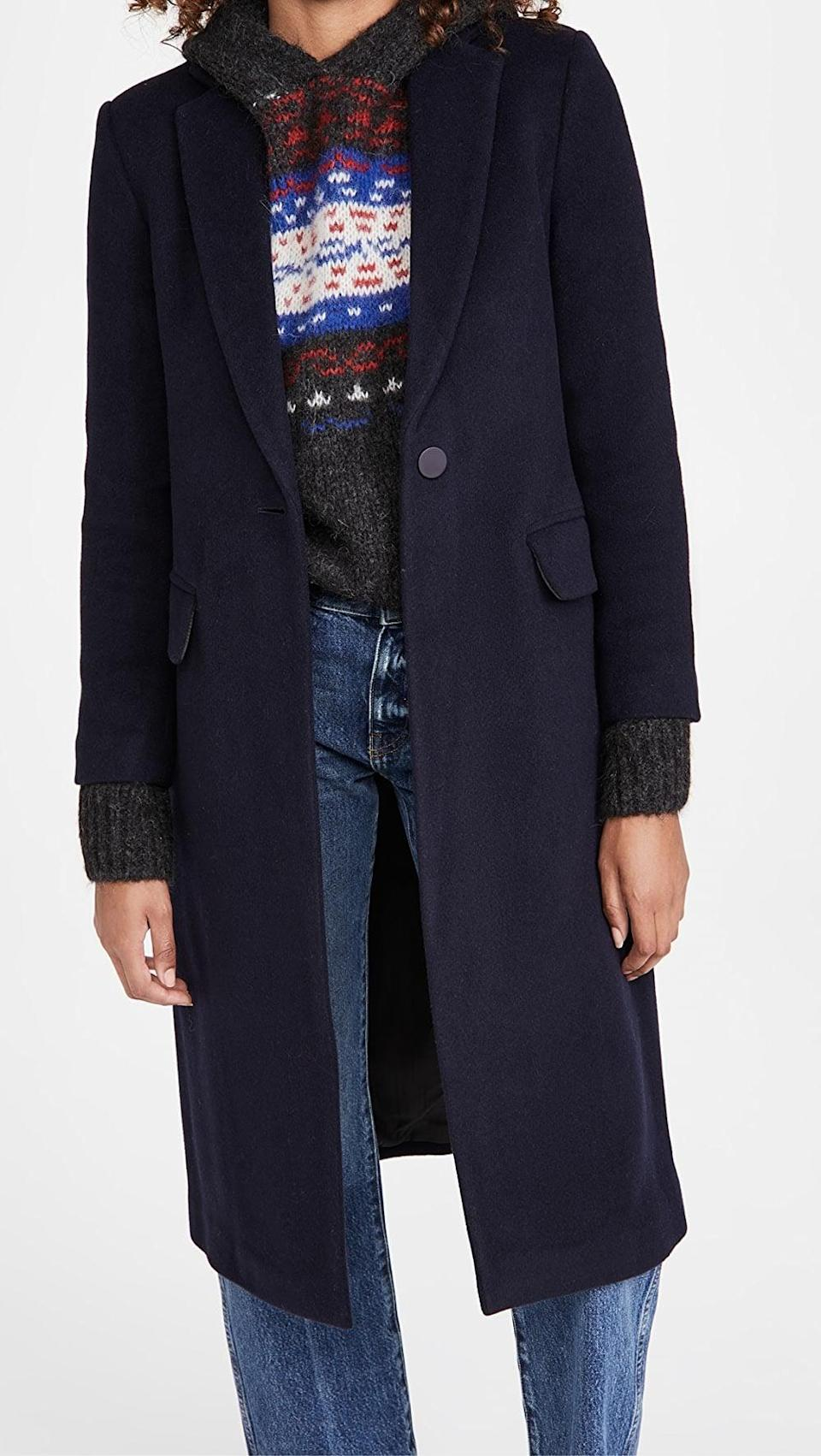 <p>The <span>Club Monaco Slim Tailored Wool Coat</span> ($479) goes with every outfit imaginable. It'll be their go-to coat.</p>