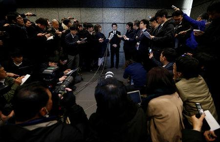 Coincheck Inc Chief Operating Officer Yusuke Otsuka speaks to the media in Tokyo, Japan February 13, 2018. REUTERS/Toru Hanai
