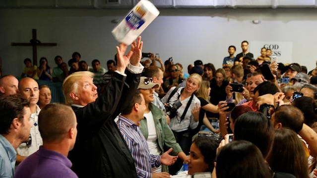 "President Donald Trump congratulated himself on his trip to hurricane-ravaged Puerto Rico last week by celebrating the ""incredible"" cheering of the ""crowd of a lot of people"" who watched him throw rolls of paper towels."